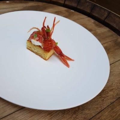 Gambero rosso Mazara del Vallo in due consistenze, pan brioche e burrata