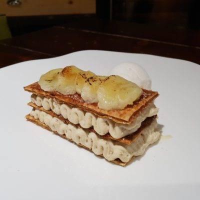 ROGER COULON - Millefoglie caramellata con crema alla banana e sorbetto al lime caraibico